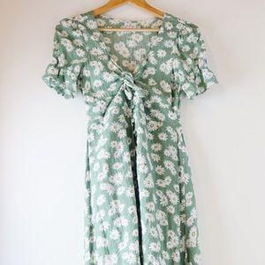 Princess Polly long green floral dress